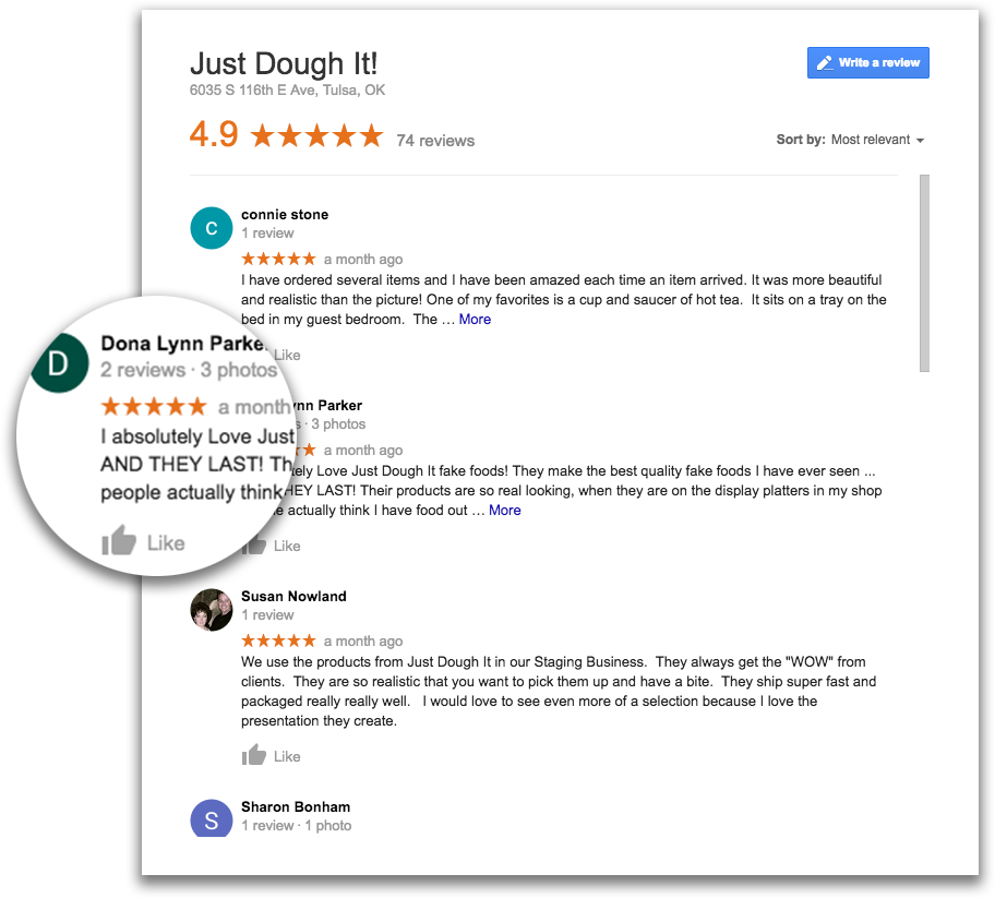 Just Dough It Landing Page Google Review